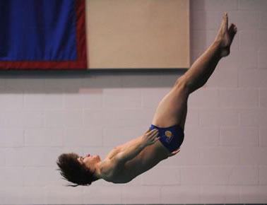 Charlie Maier '14 dives at a recent meet.