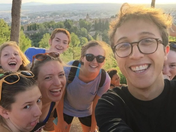 Sam Hickson (right), takes a selfie with other students while abroad in Granada, Spain