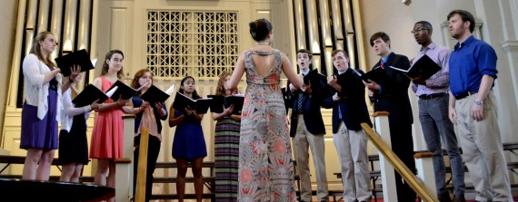 Wegener performing with the Wheaton College Chamber Singers this past Spring.