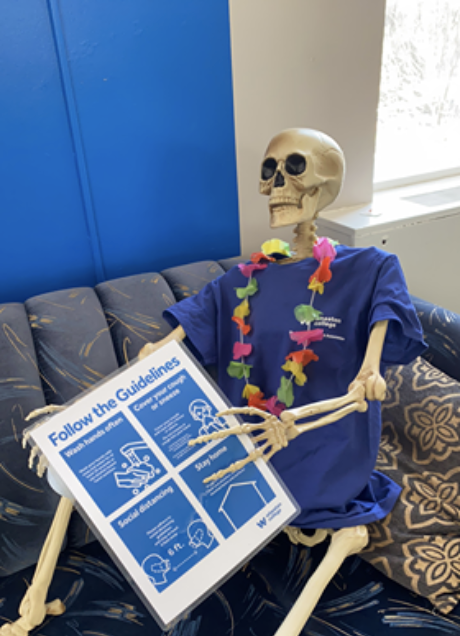 Skeleton with a blue shirt holding a blue sign